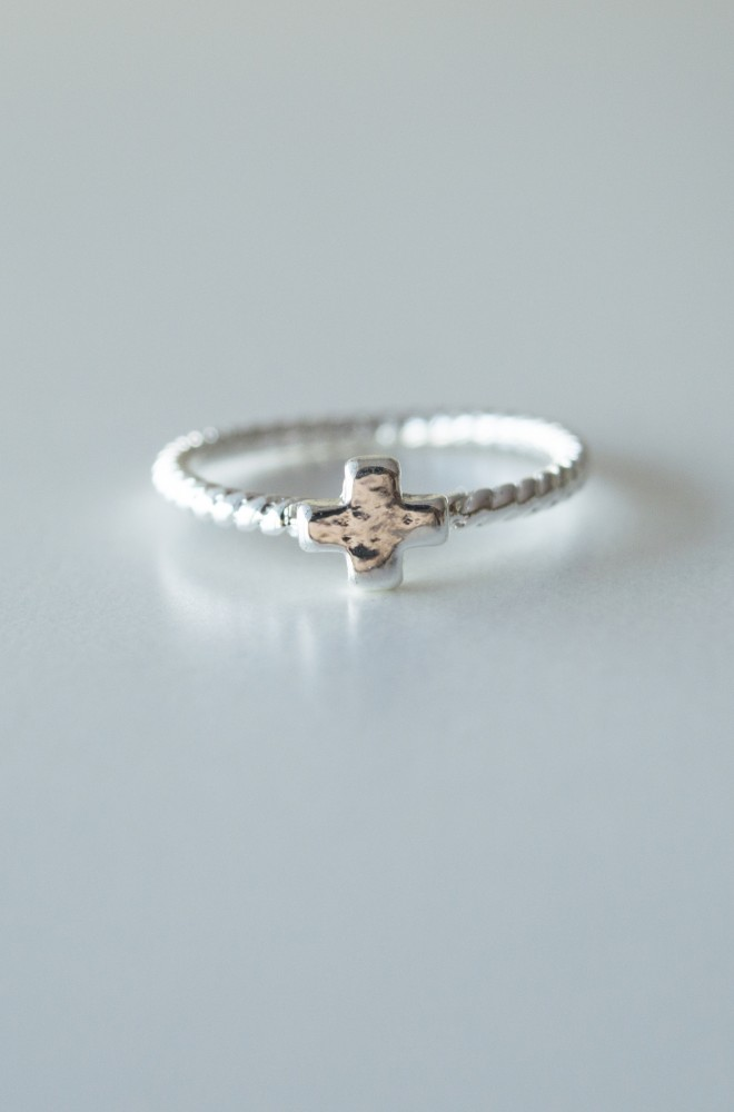 square cross on delicate twist ring
